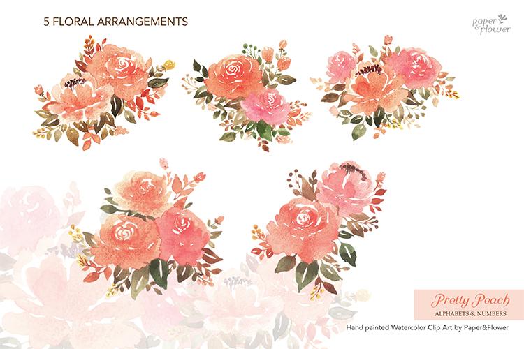 Peach Rose Watercolor Alphabet Set example image 6