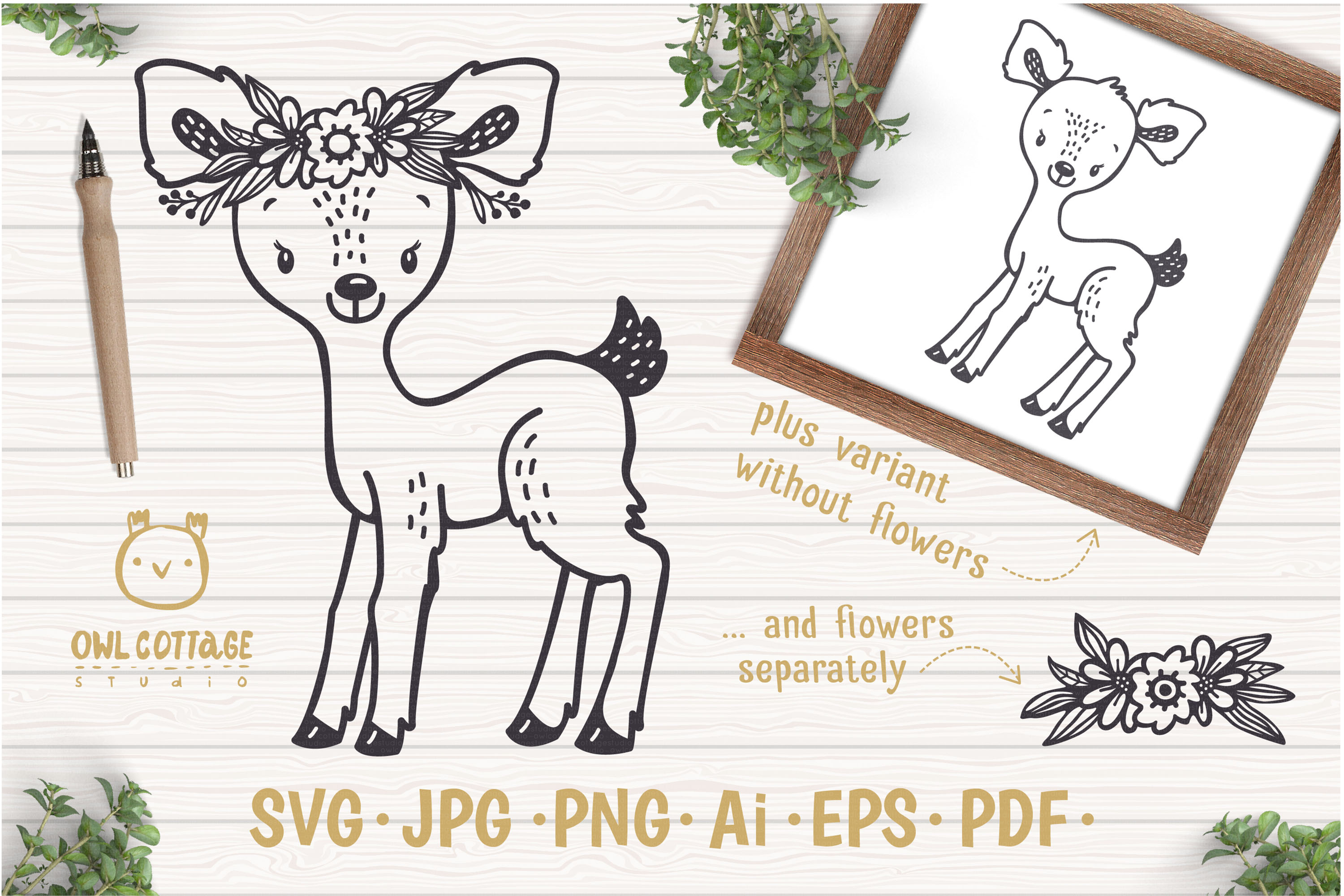 Baby Deer with Flowers Crown Svg , Favn Cut File example image 1