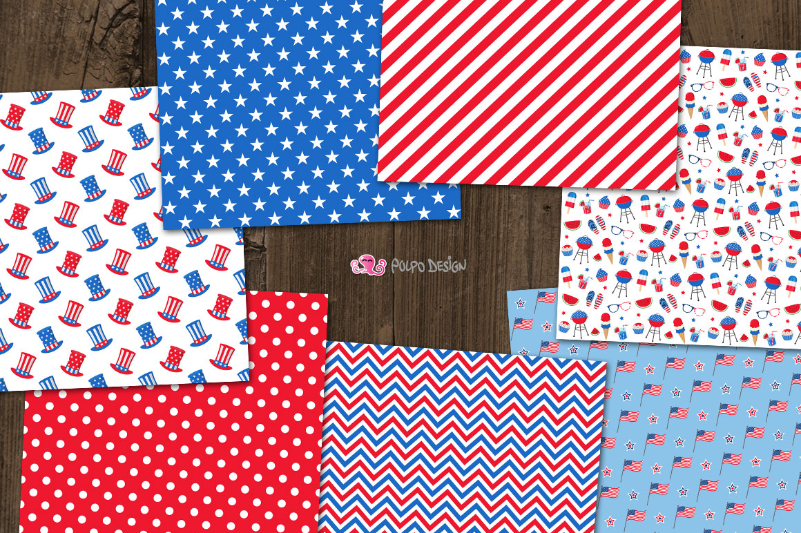 4th of July digital paper example image 3