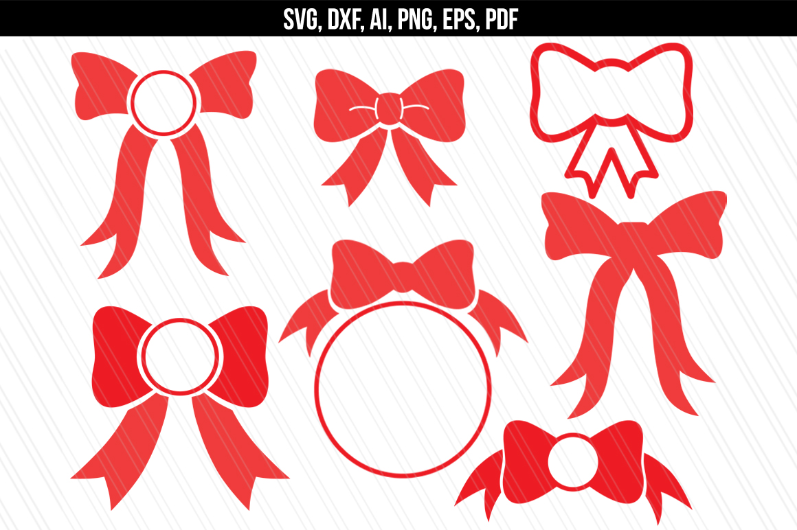 Download Bow monogram svg dxf cutting files