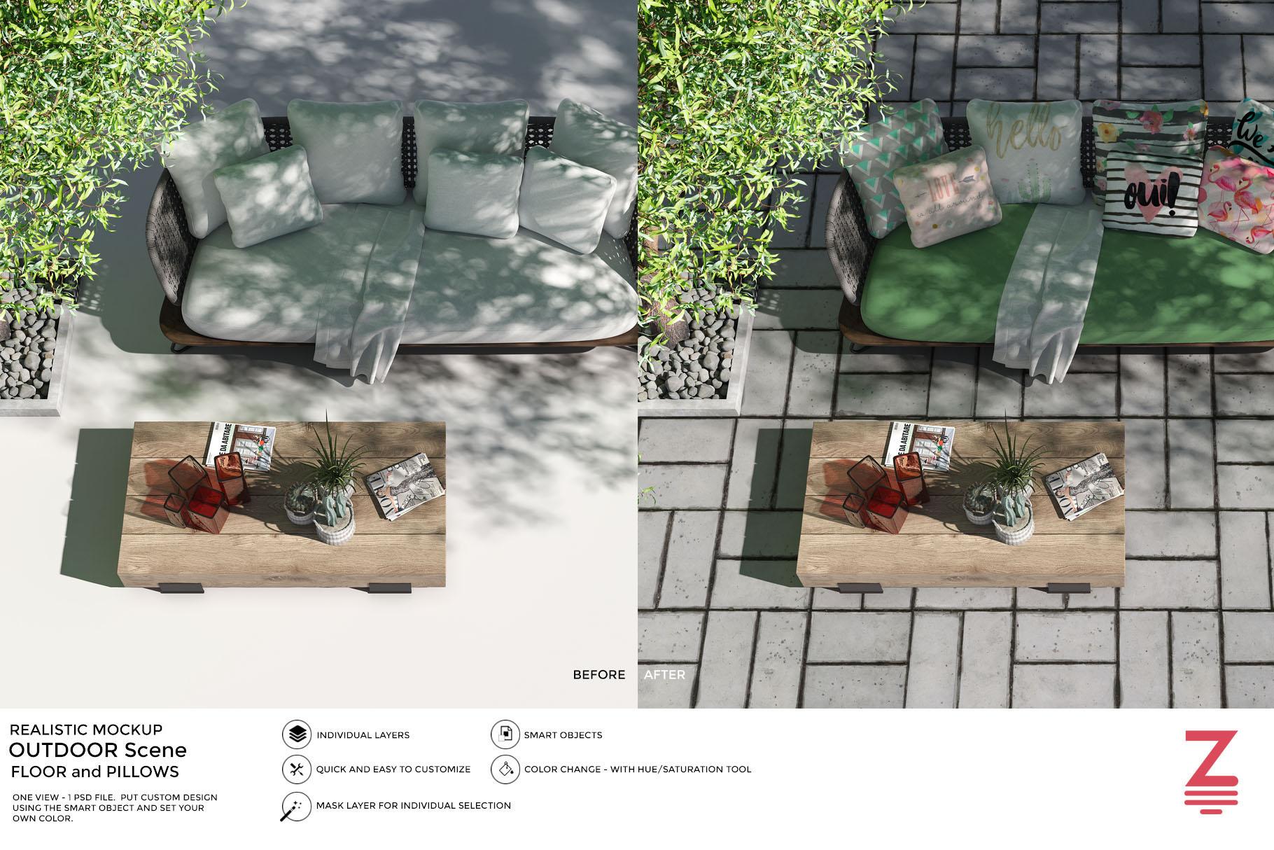 Blank Floor Outdoor PSD Mockup SM14 example image 1