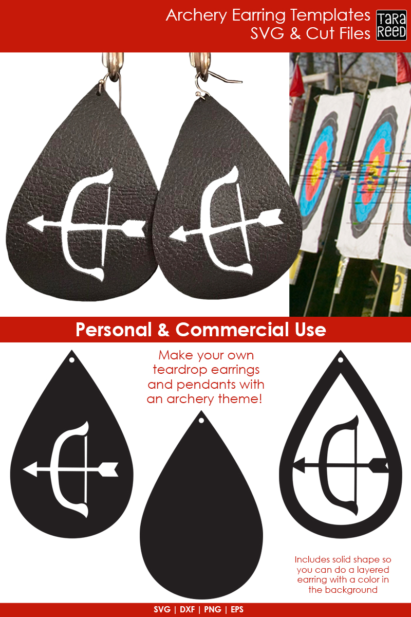 Archery Earring Templates - Archery SVG and Cut Files example image 2