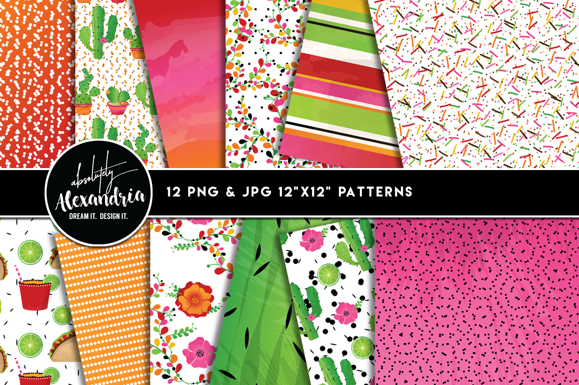 Taco Bout A Fiesta Clipart Graphics & Digital Paper Patterns Bundle example image 2