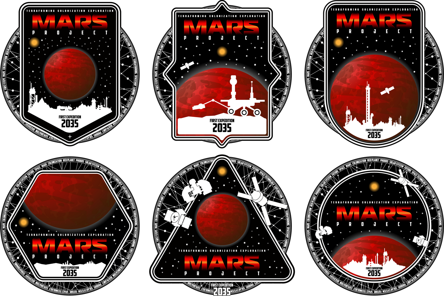 Mission to mars vector logo. example image 2