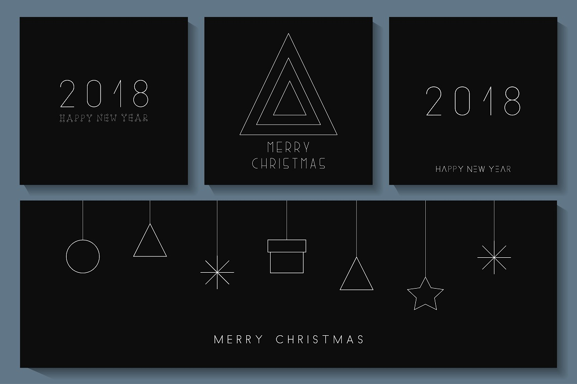 Minimalistic Merry Christmas cards example image 1