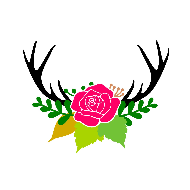 Deer floral antler svg example image 1