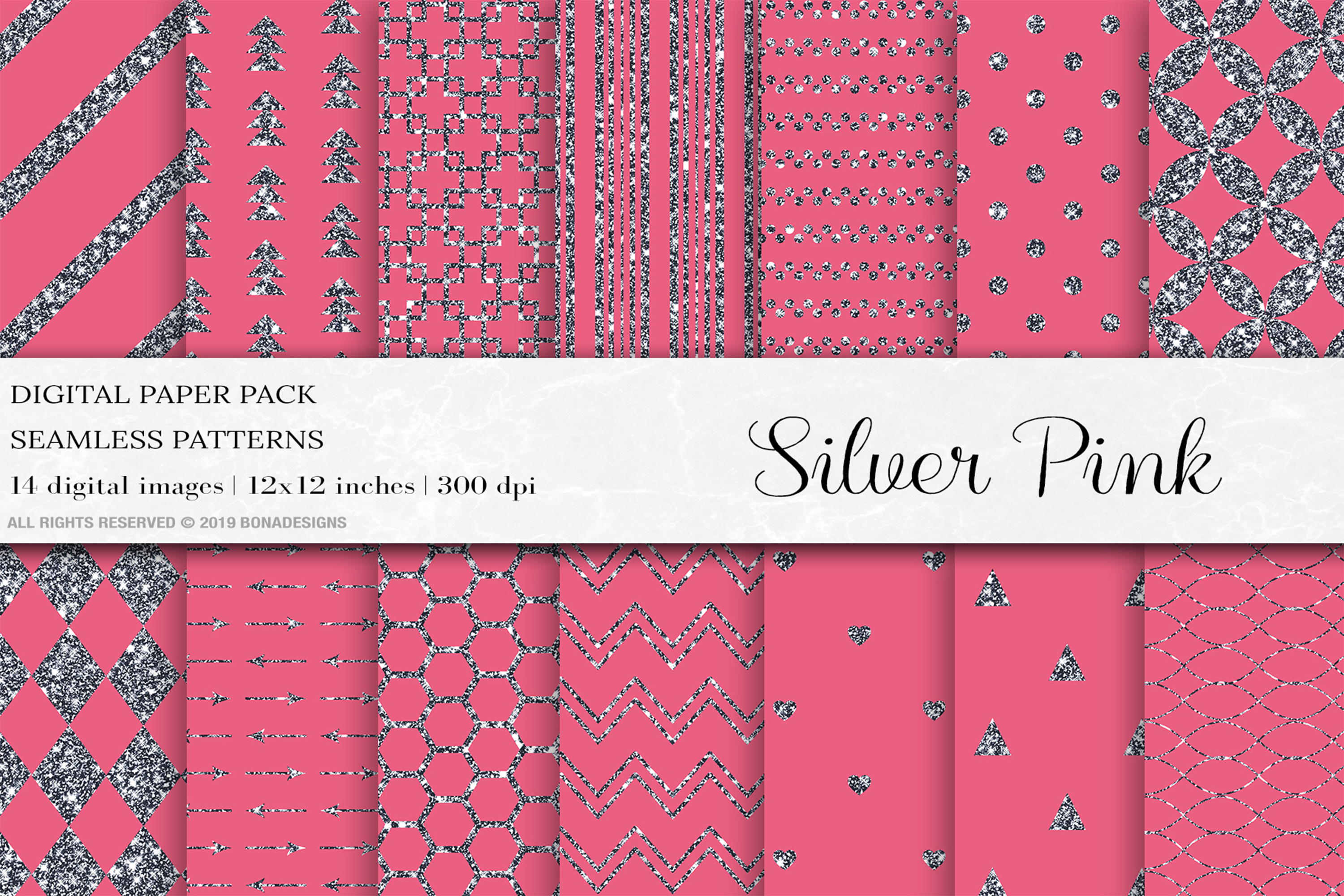 Silver Pink Glitter Digital Papers, Silver Patterns example image 1