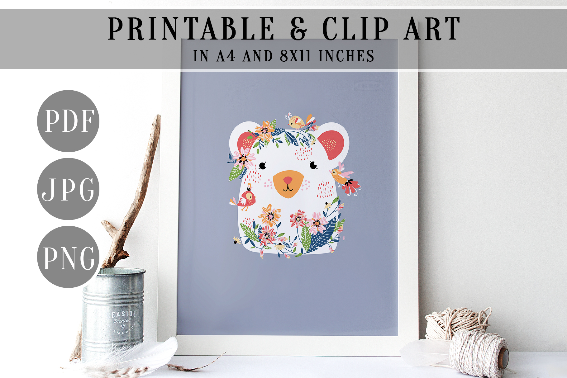 Woodland Bear Wall Art, Floral Forest Friend Clip Art, PDF example image 2