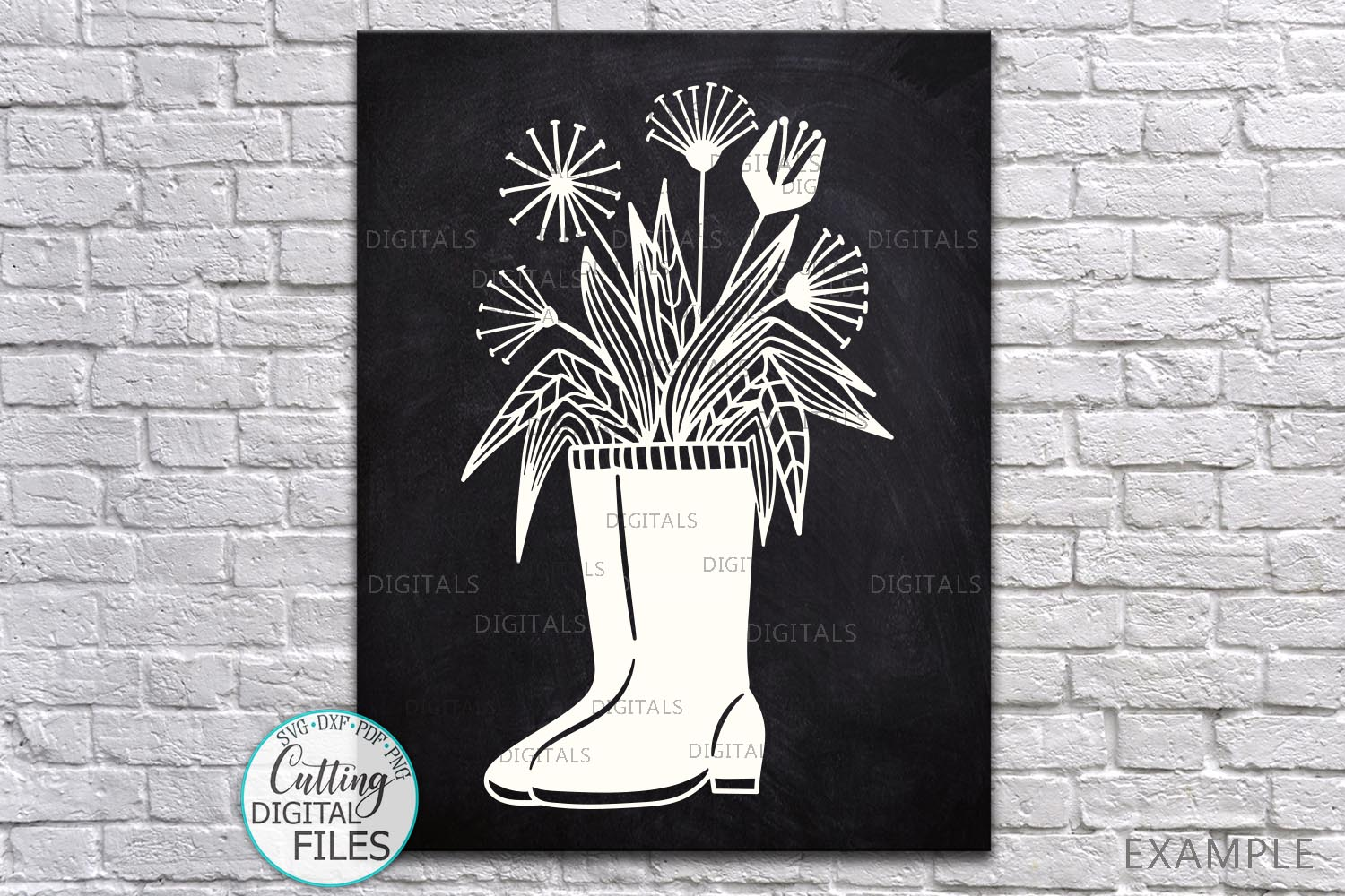 Flowers Wellies Rain boots svg dxf laser paper cut out files example image 1