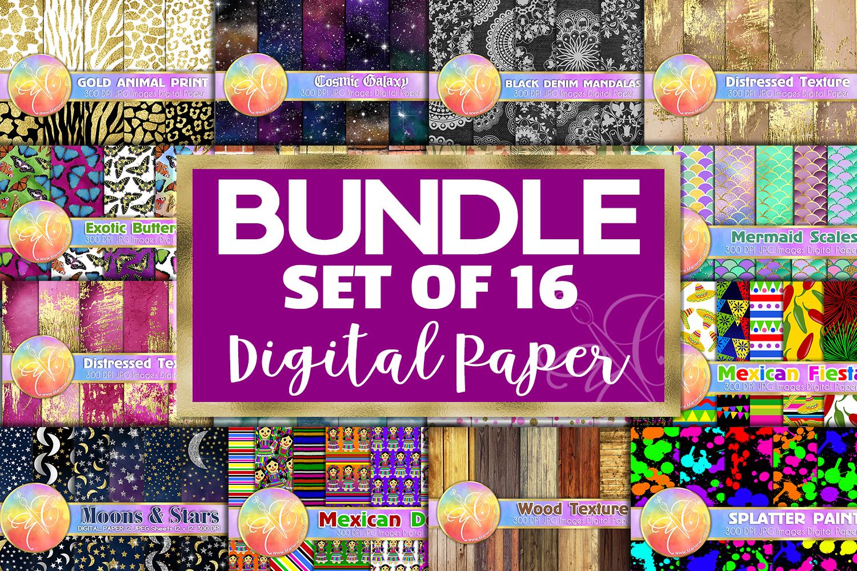 BUNDLE Digital Paper, Set of 16 Themes, Digital Background example image 1
