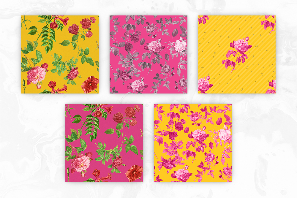 Bright Yellow & Pink Vintage Floral Seamless Patterns example image 2