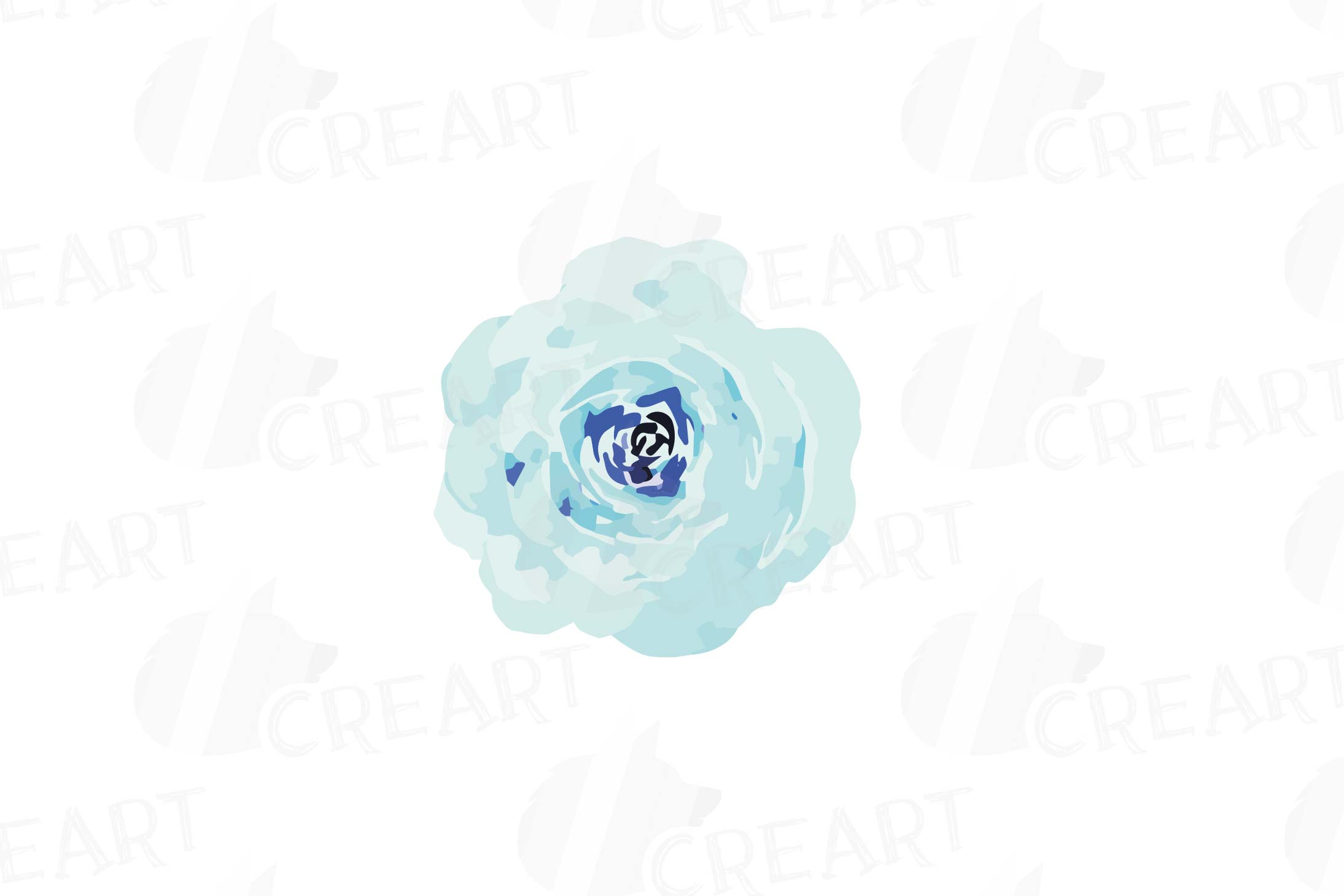 Watercolor Pink and Blue Roses and leafs clip art pack, png example image 7