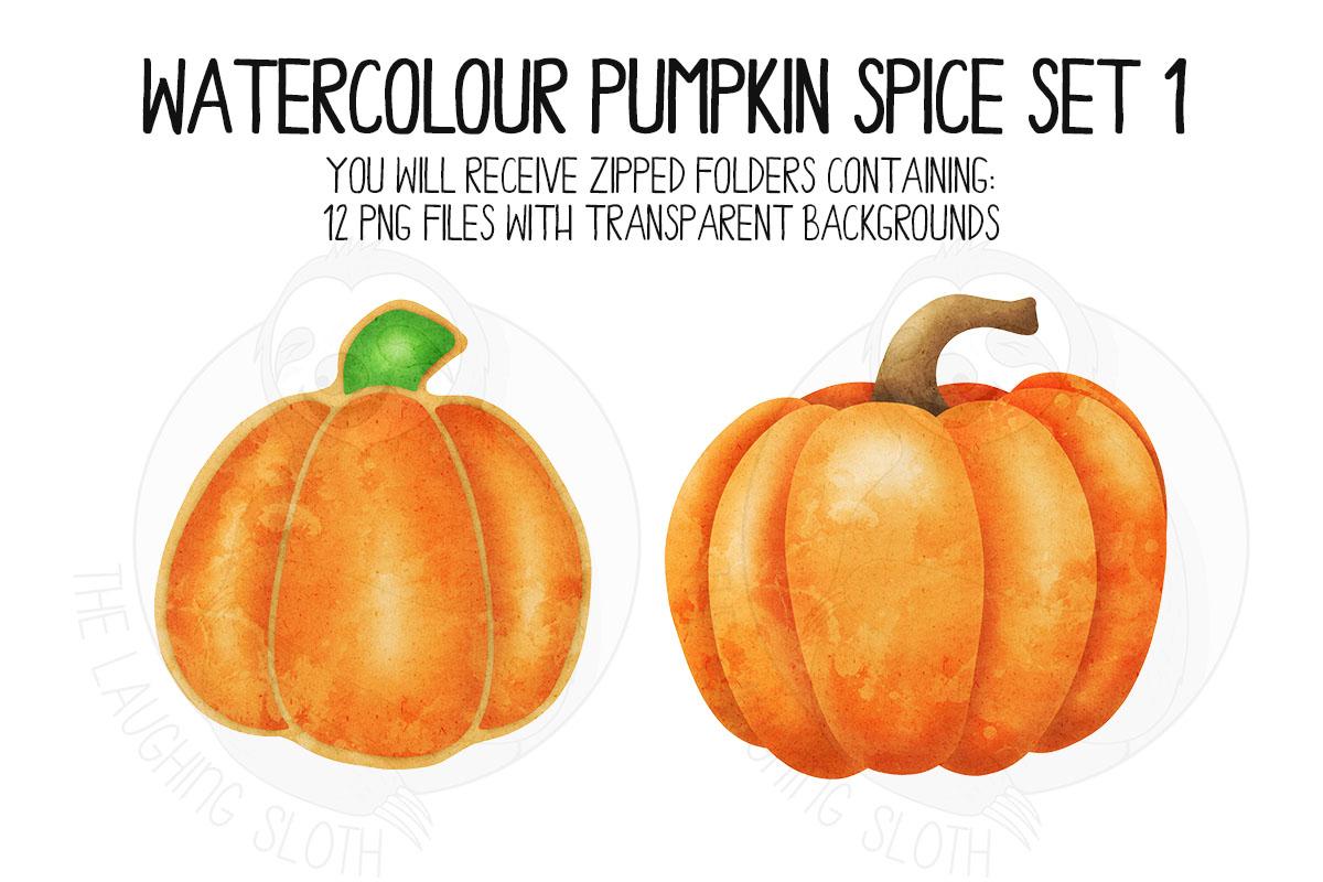 Watercolor Pumpkin Spice Clip Art Set 1 example image 5