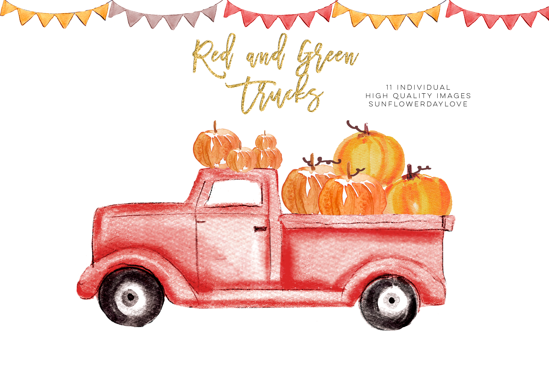 Pumpkin truck clipart, Watercolor Red Truck Pumpkins example image 4
