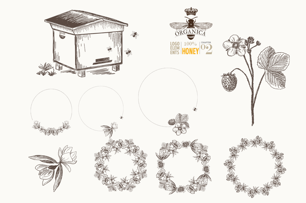 ORGANIC LOGO ELEMENTS  HONEY example image 7