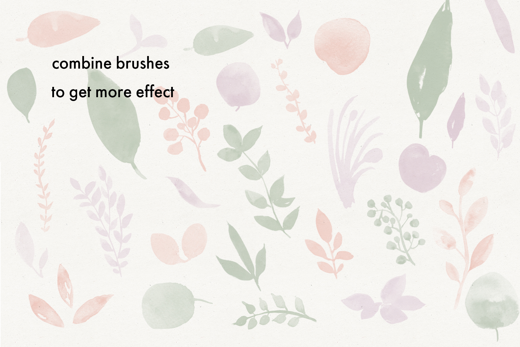 Watercolor Leaves Stamp Brushes example image 4