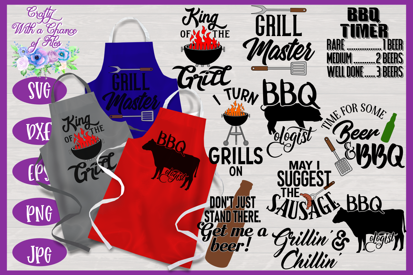 BBQ Grill Apron Bundle | Funny SVG Bundle example image 1
