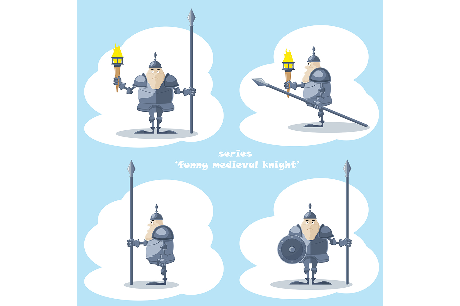 Set of 10 figure funny medieval knight or soldier. Vector illustration example image 2
