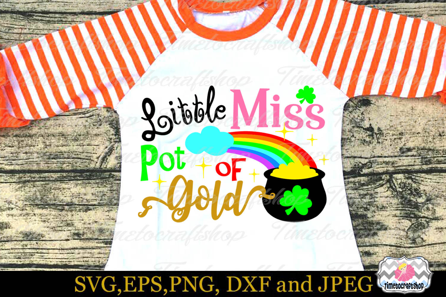 SVG, Dxf, Eps & Png St Patricks Day Little Miss Pot of Gold example image 1