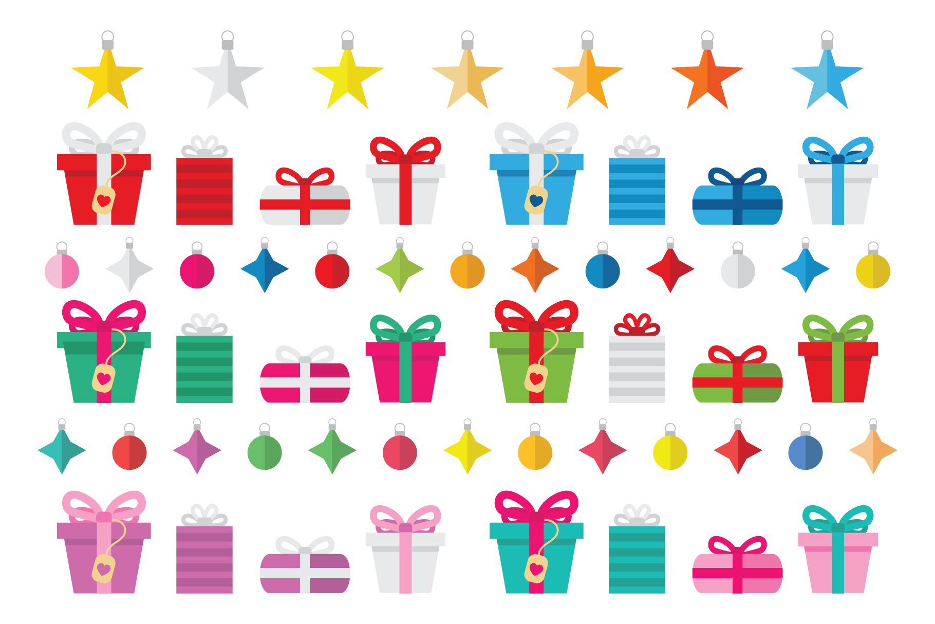 Colorful Christmas Tree Party Clip Art Set example image 6