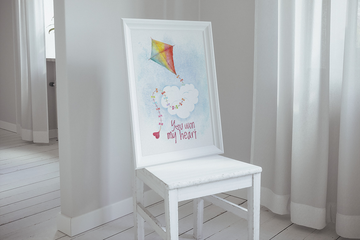 Romantic watercolor set. Love is in the air example image 11