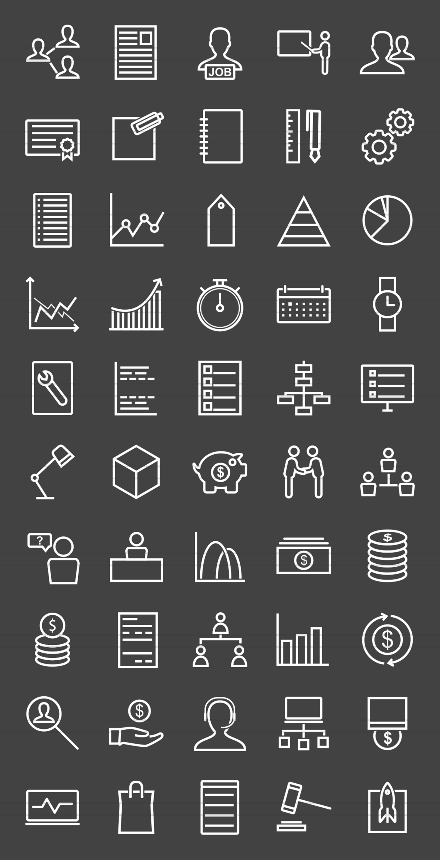 50 Business Management Line Inverted Icons example image 2