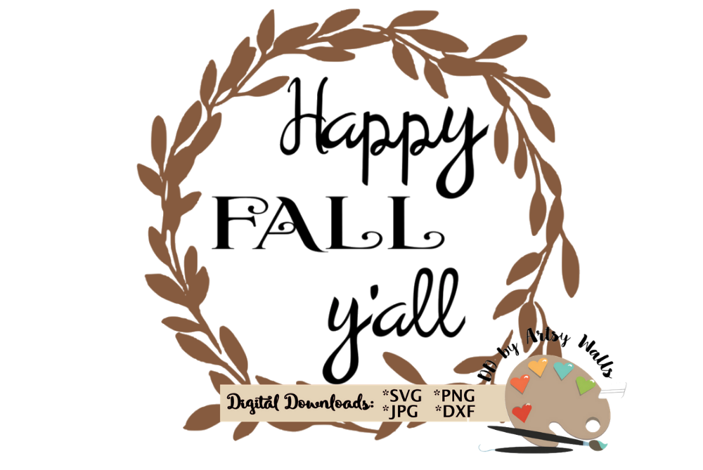 Happy Thanksgiving Yall >> Happy Fall Yall Svg Cut File Fall Leaves Svg Thanksgiving
