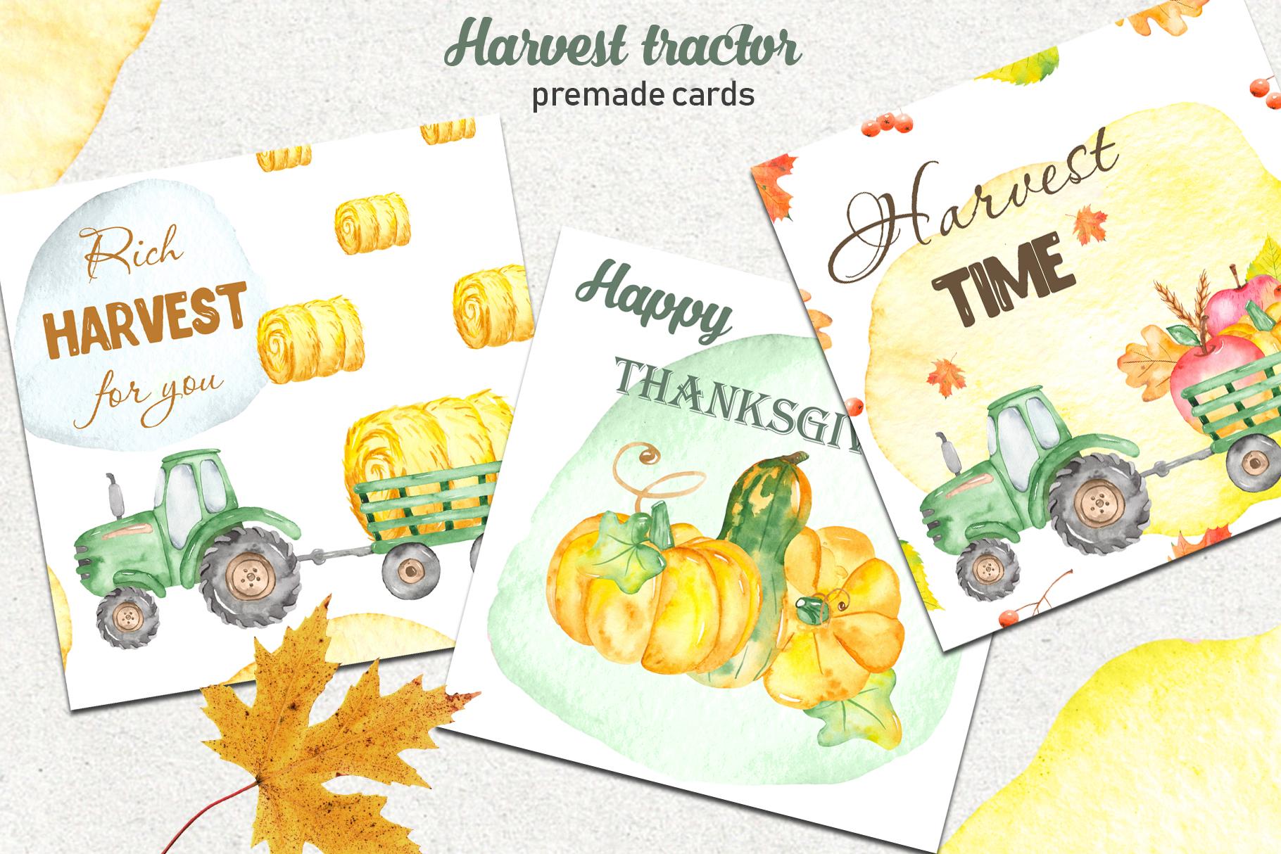 Tractor, harvesting, hay, pumpkin, farm. Watercolor clipart example image 3