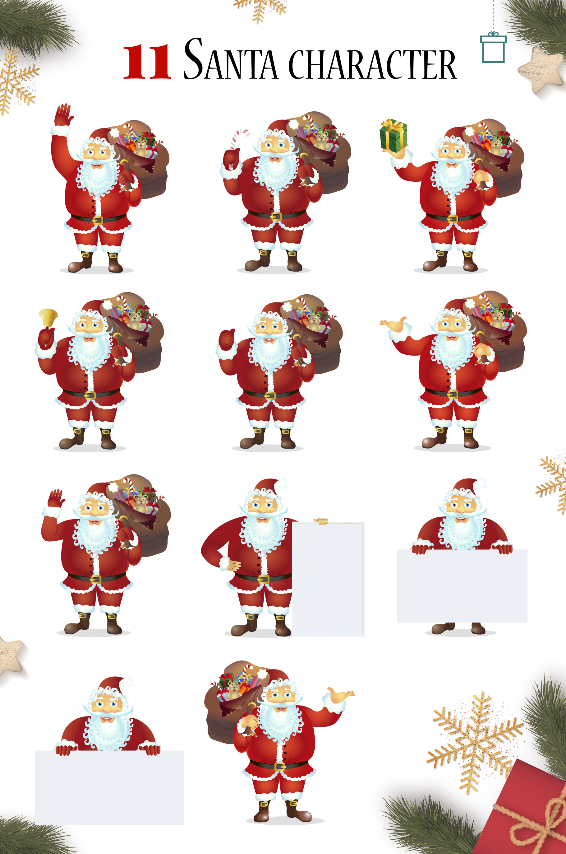Happy Santa Merry Christmas Set vector collection example image 2