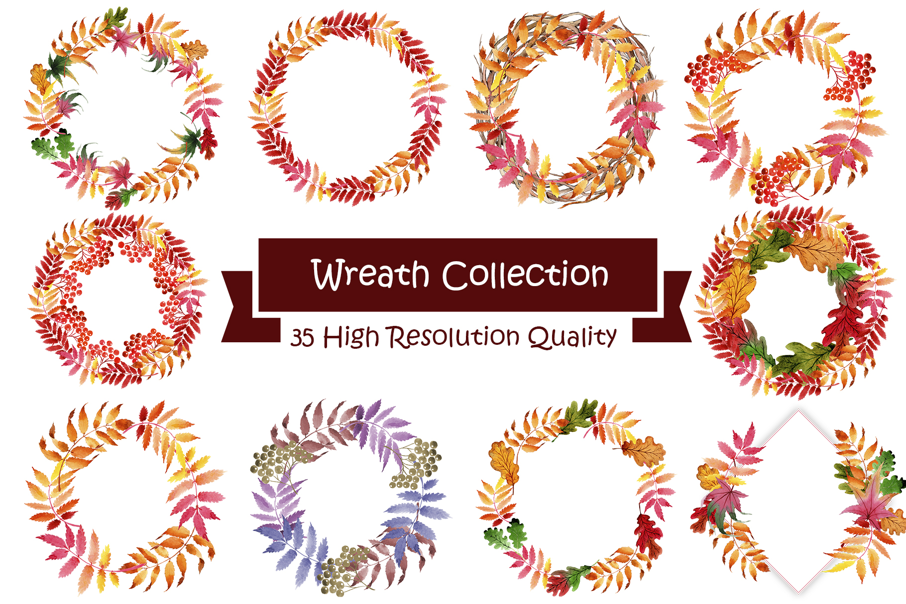 Wreath collection PNG watercolor set  example image 3