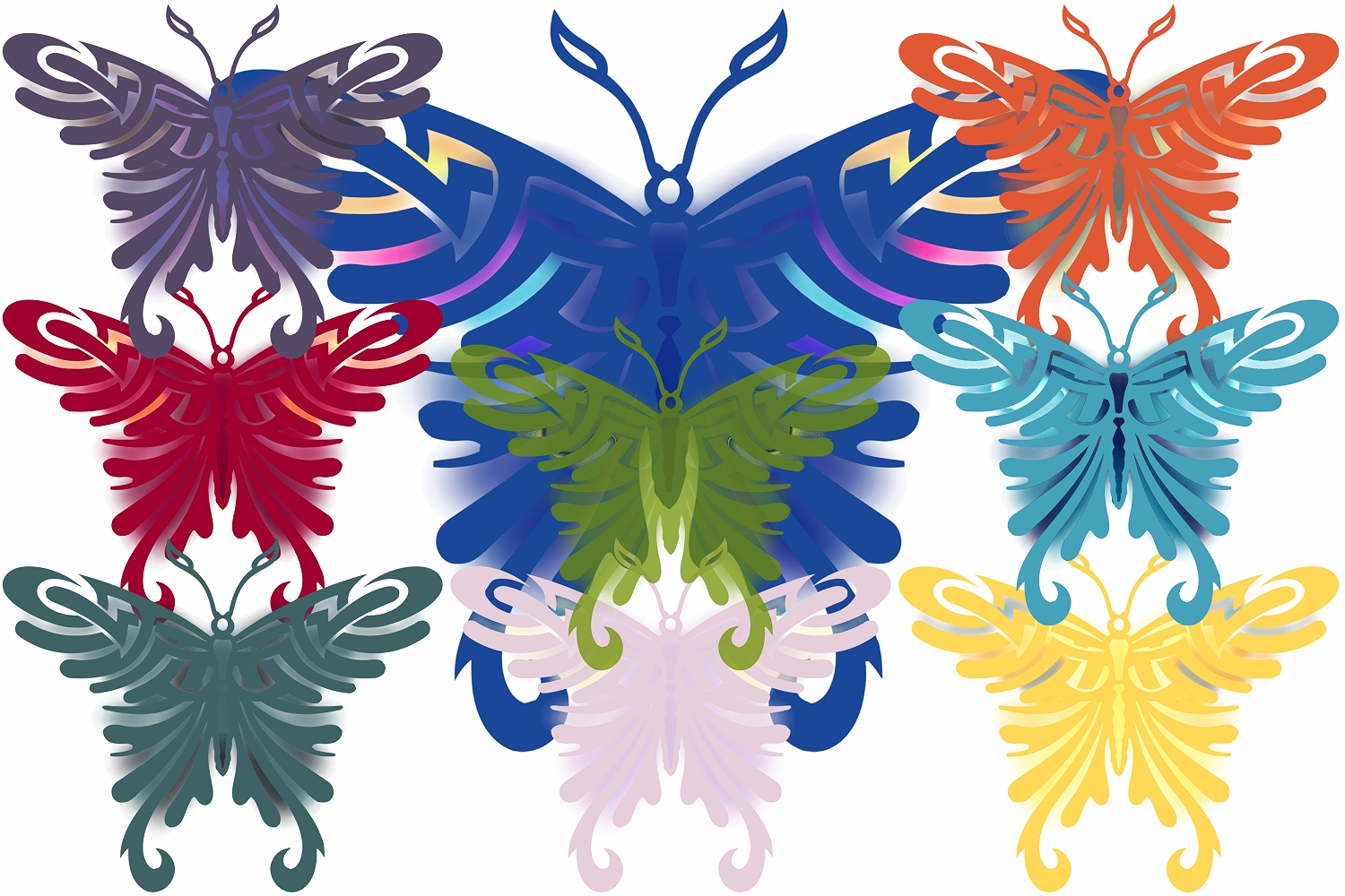 Colored Butterfly's ( Graphic Pack ) example image 1