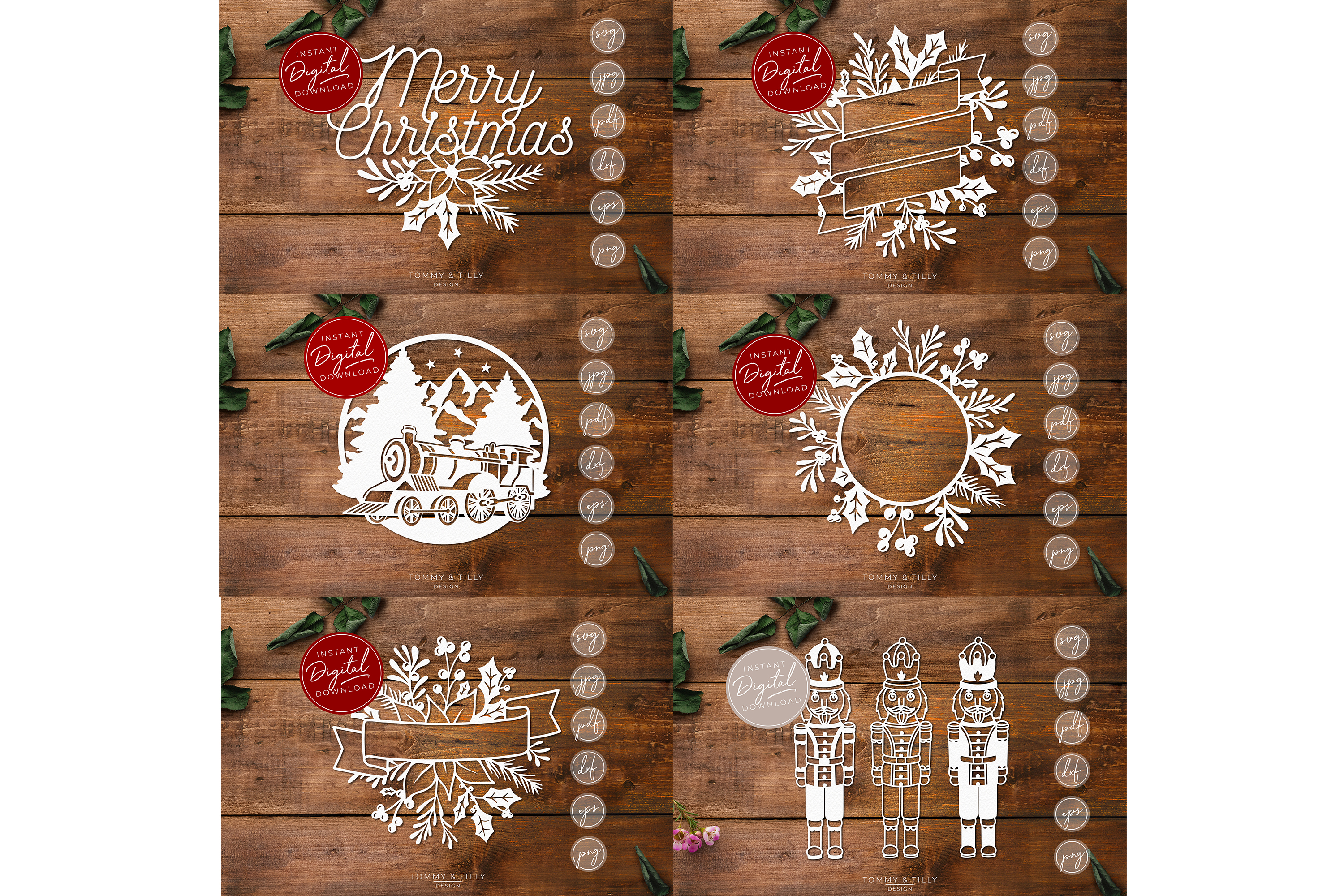 MEGA BUNDLE! 60 Christmas Cut Files - SVG | Papercut example image 8