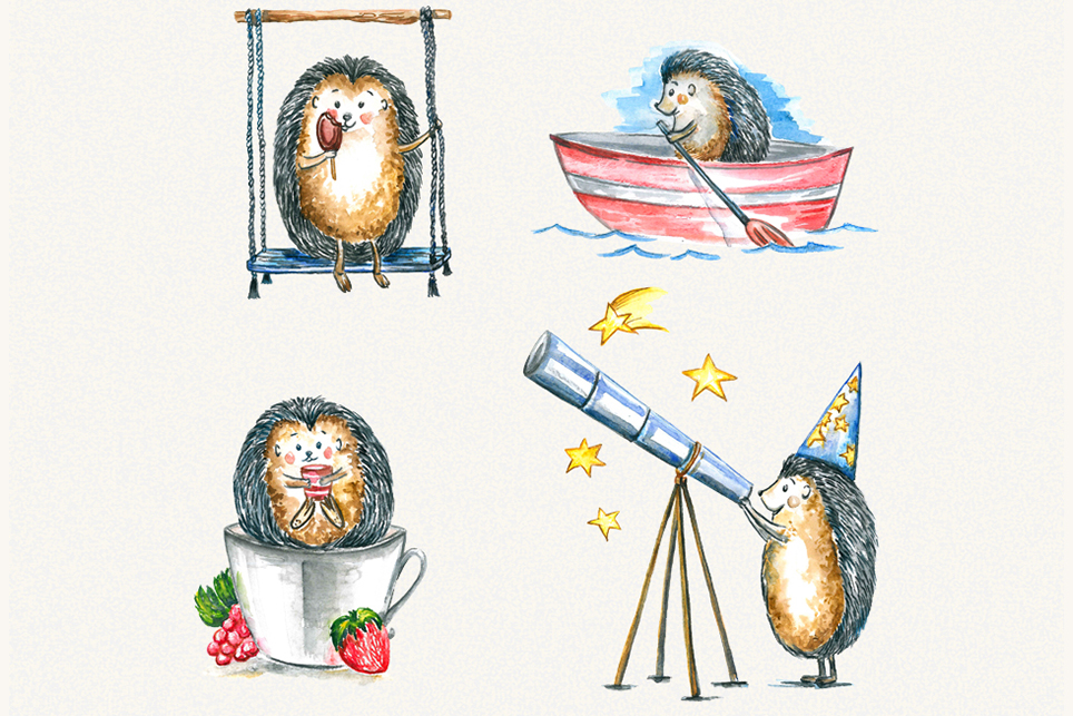 Hedgehog clipart, watercolor clipart example image 4