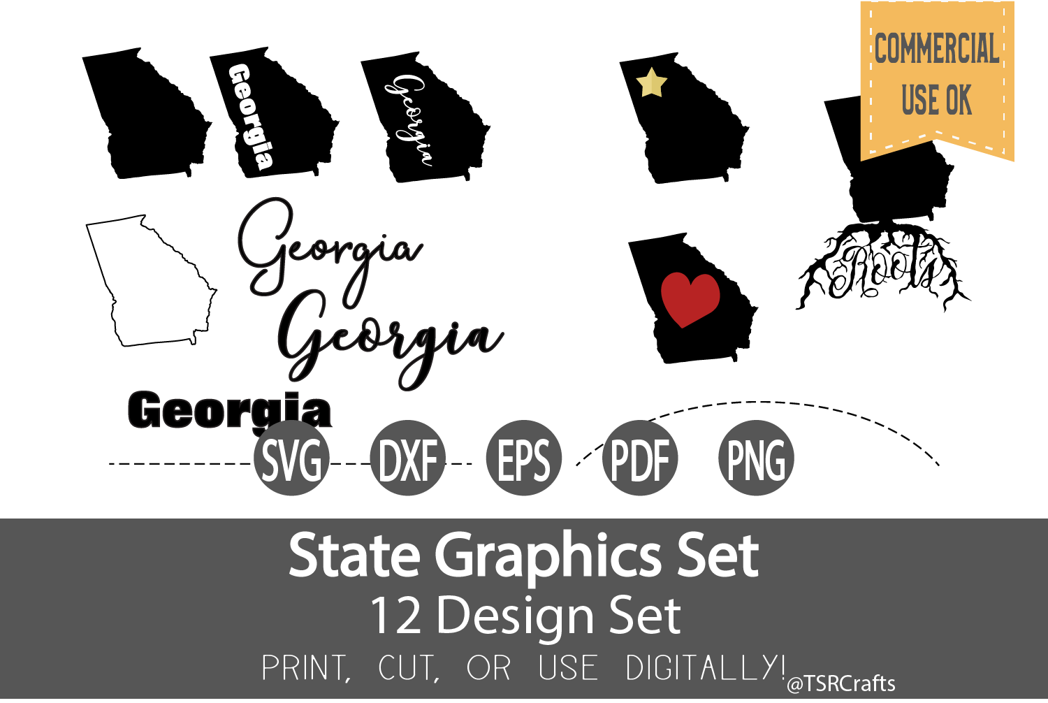 Georgia State Graphics Set - Clip Art and Digital Cut fi example image 1