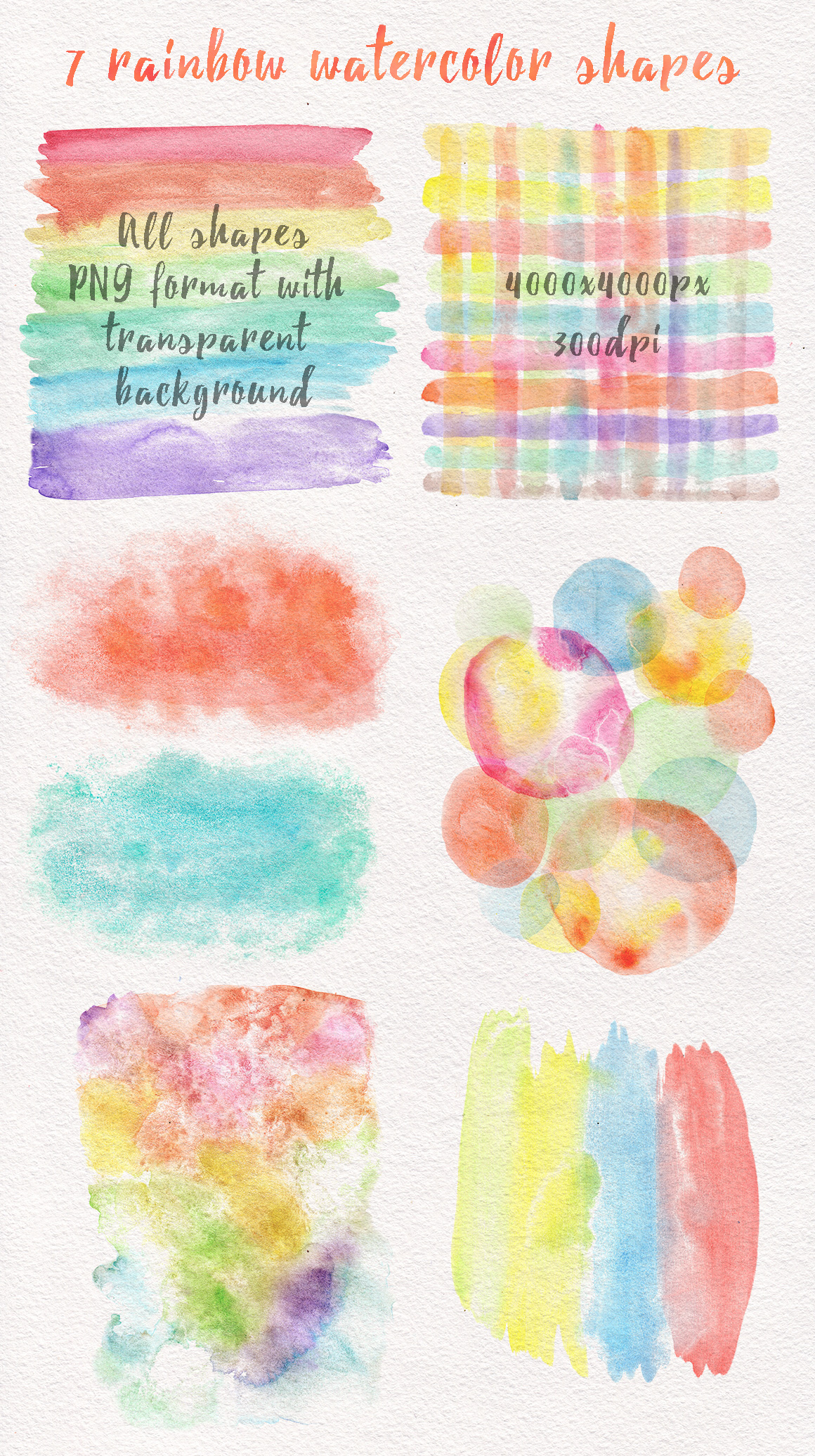Rainbow watercolor seamless pattern example image 4