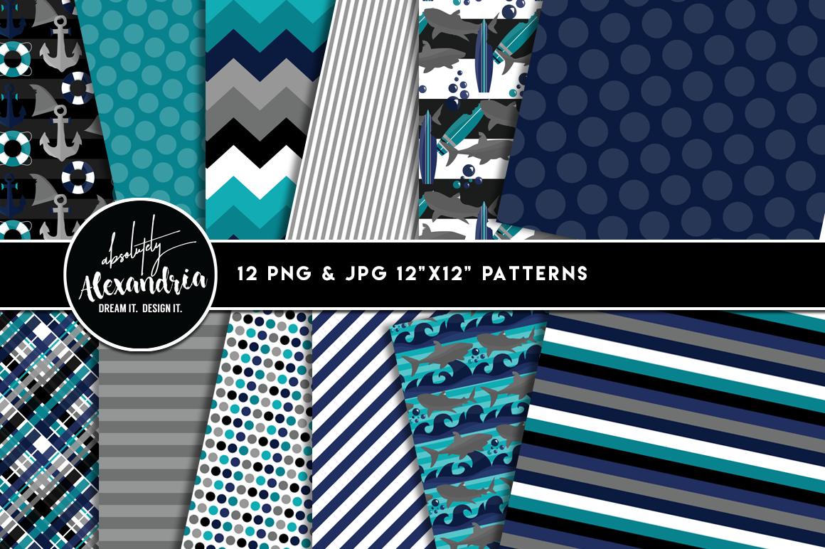 Shark Attack Clipart Graphics & Digital Paper Patterns Bundle example image 2