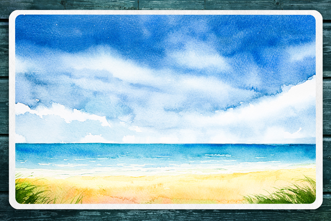 Seascapes 2. Watercolor set. example image 9