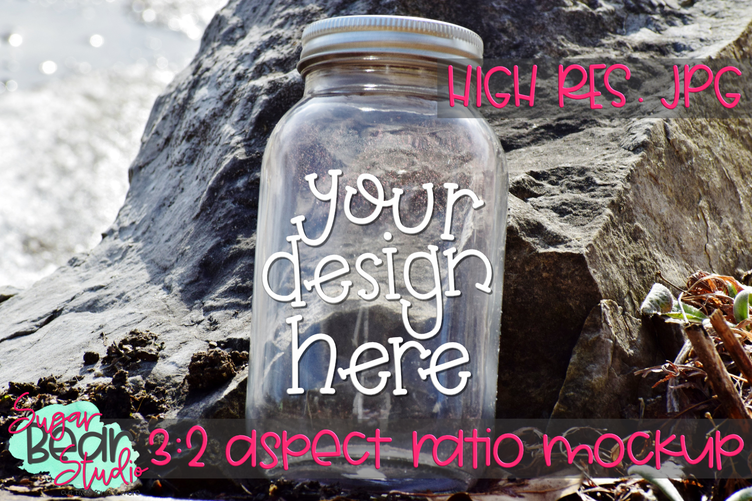 Mason Jar on a Rock Mockup example image 1