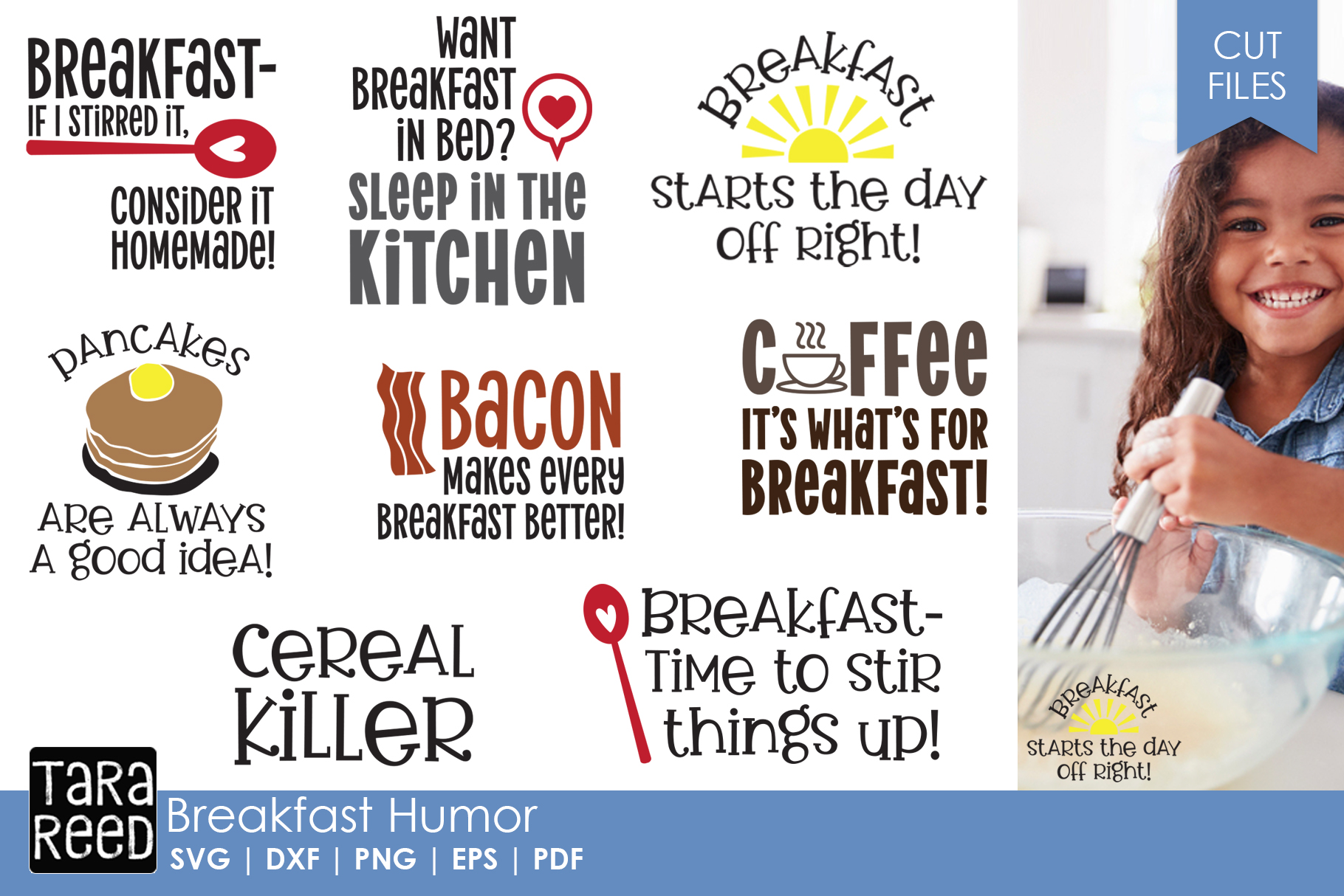 Breakfast Humor - Food SVG and Cut Files for Crafters example image 1