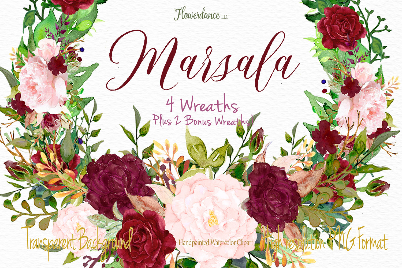 Watercolor Marsala and Blush Bundle for Weddings example image 6