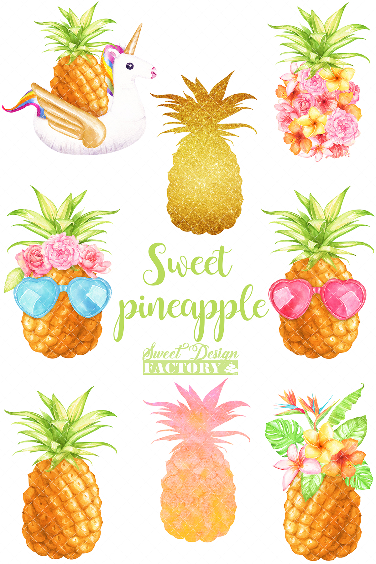 Watercolor pineapple clipart example image 2
