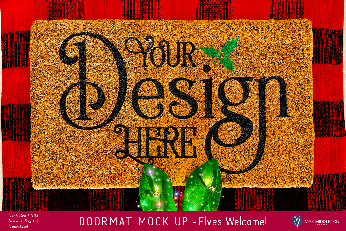 Doormat mock up for Christmas - Elf, styled photo example image 1