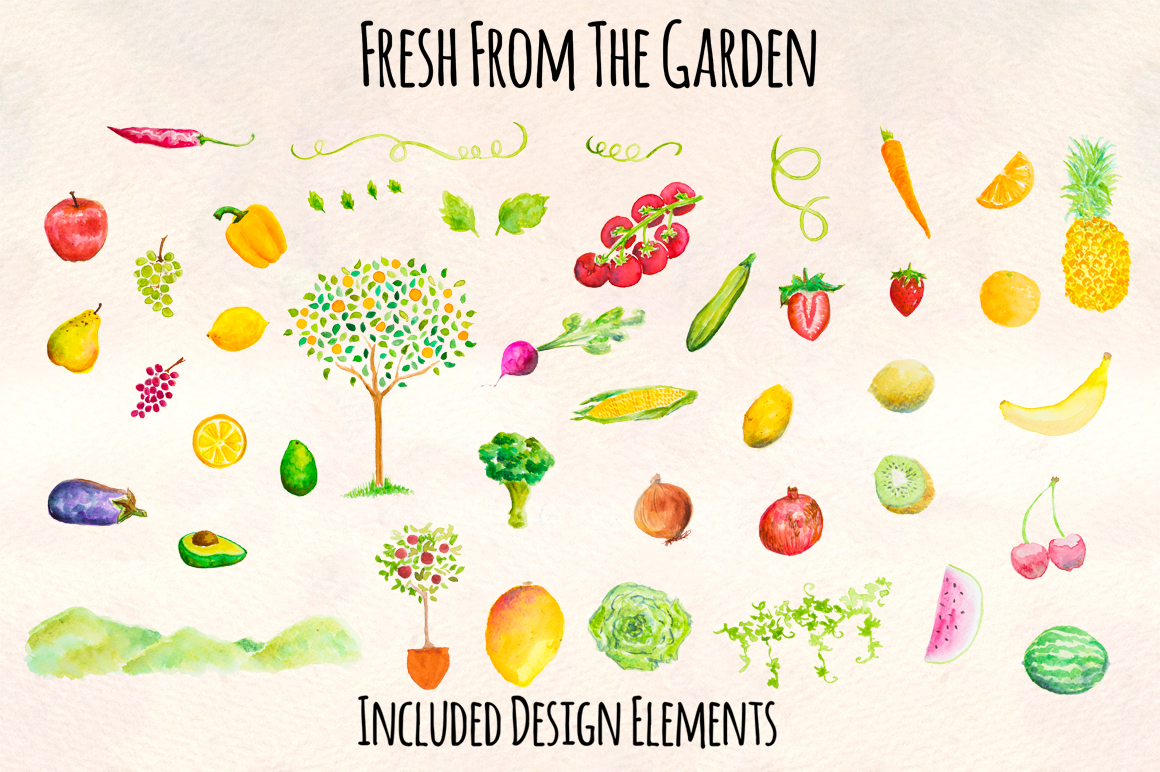 Fresh Fruits and Vegetables Watercolor Paintings Kit example image 2