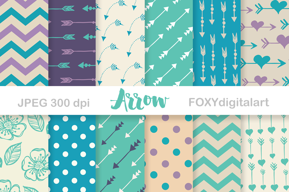 Digital paper arrow aztec tribal native bohemian hipster example image 1