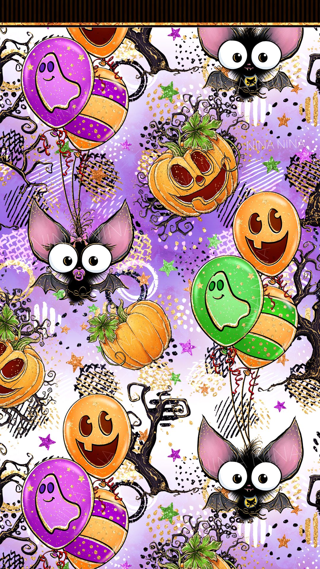 Cute Halloween Seamless Patterns, Bats Digital Papers Pack example image 10