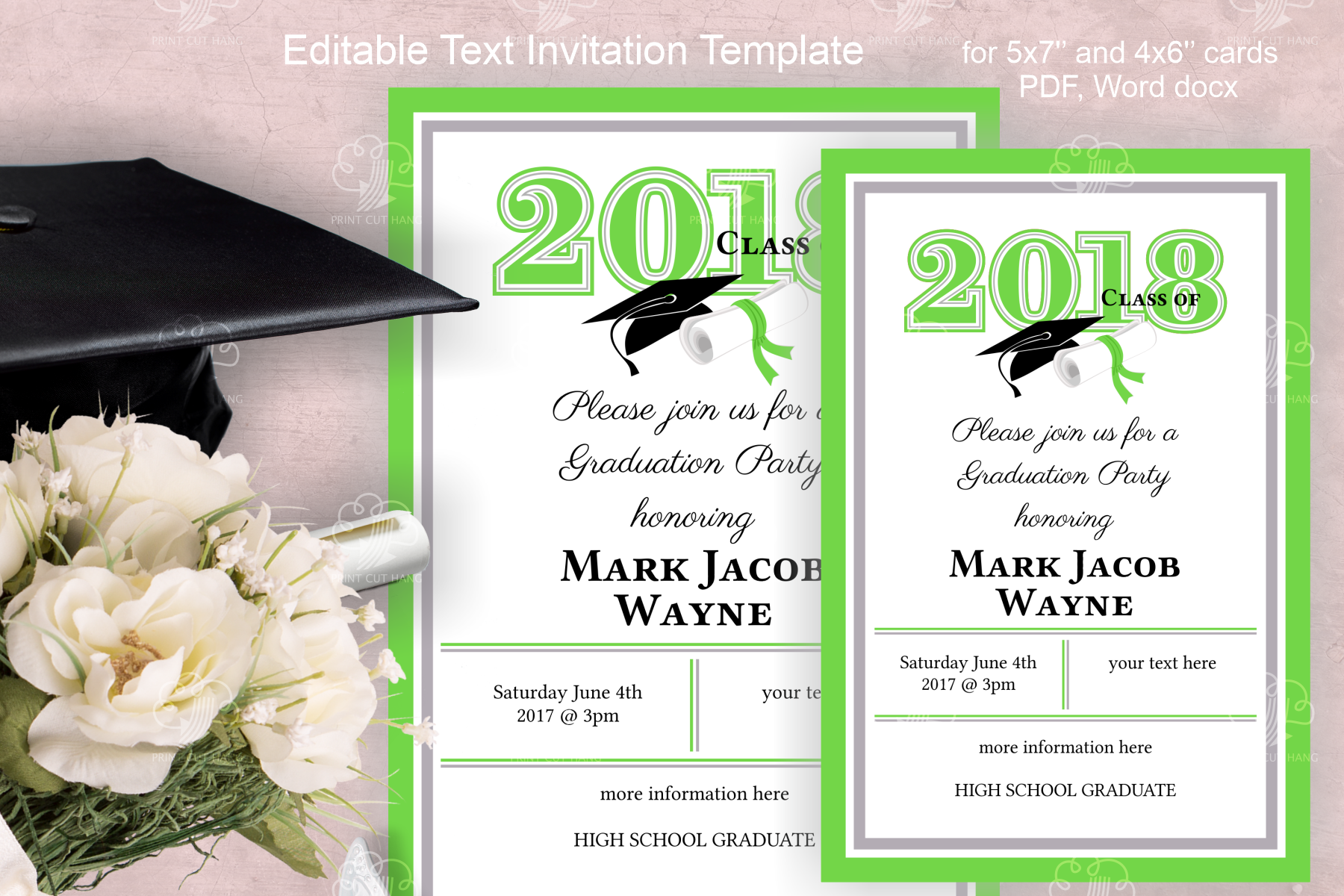 invitation template editable text  green  graduation 2019