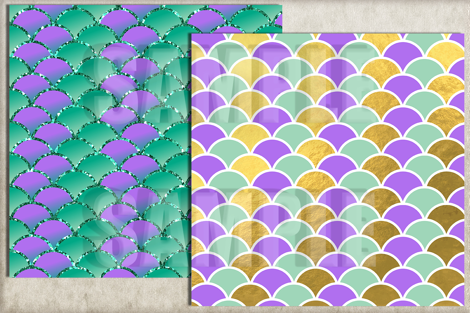 Mermaid Scales Digital Paper, Mermaid Tail Background example image 2