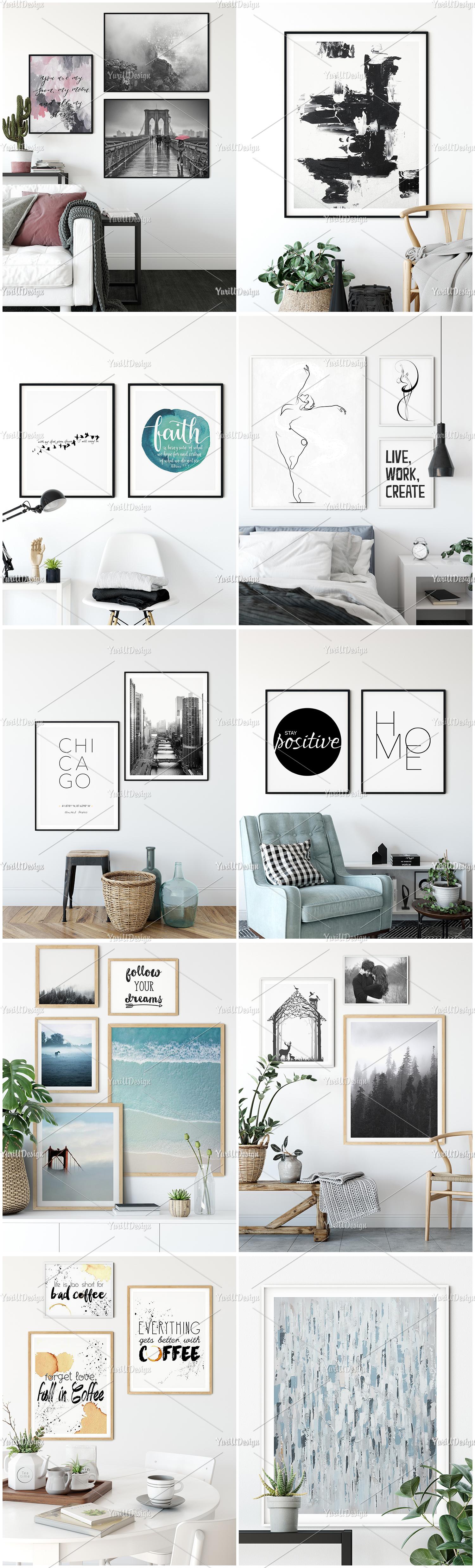 Scandinavian Interior Frames & Walls Mockup Bundle example image 6