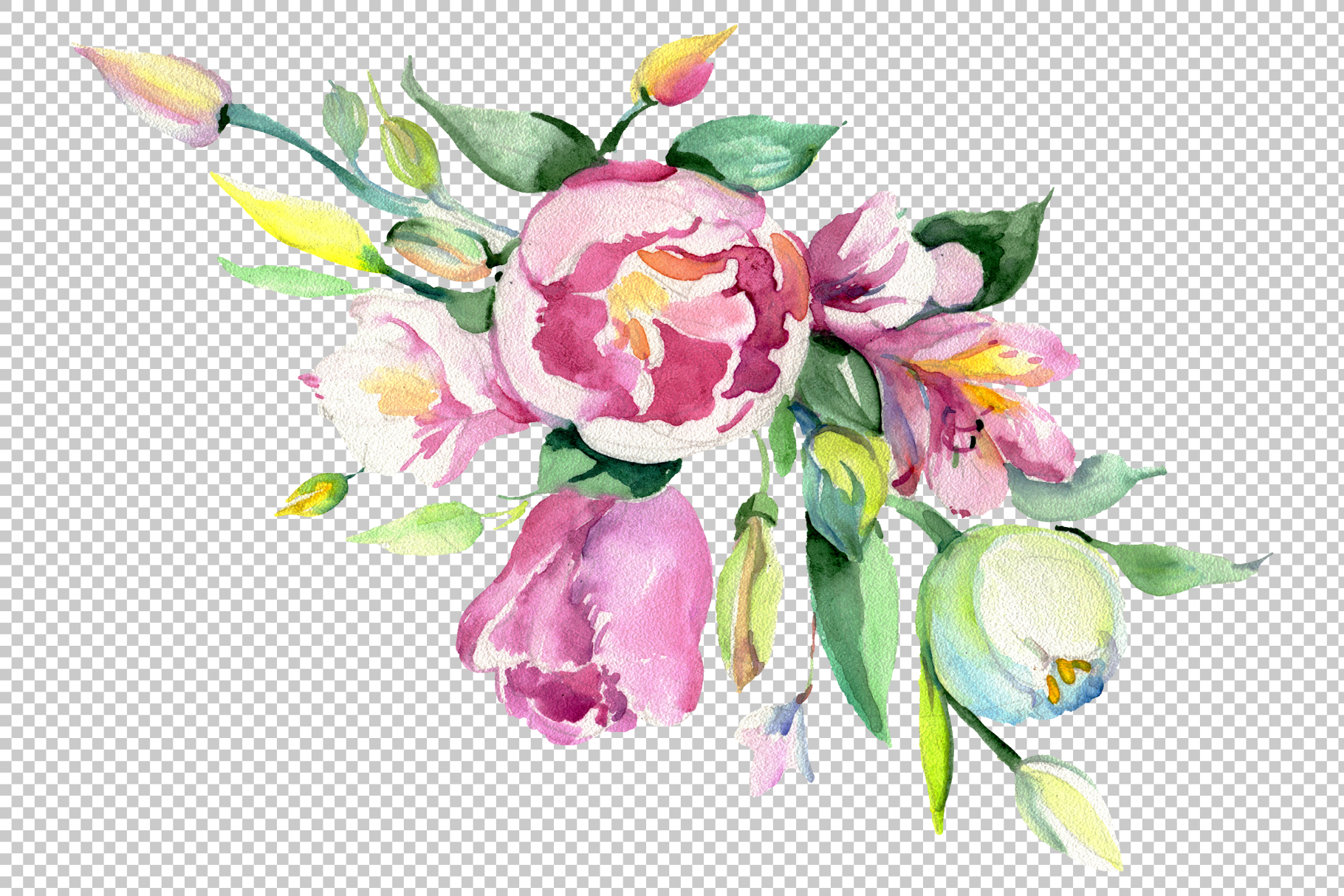Bouquet of flowers matures feelings watercolor png example image 3