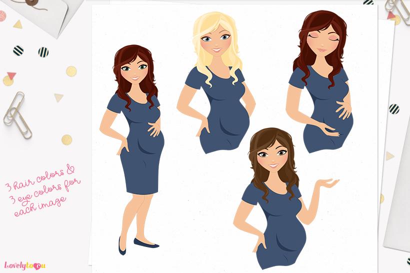 Woman maternity character clip art L193 Brook example image 1
